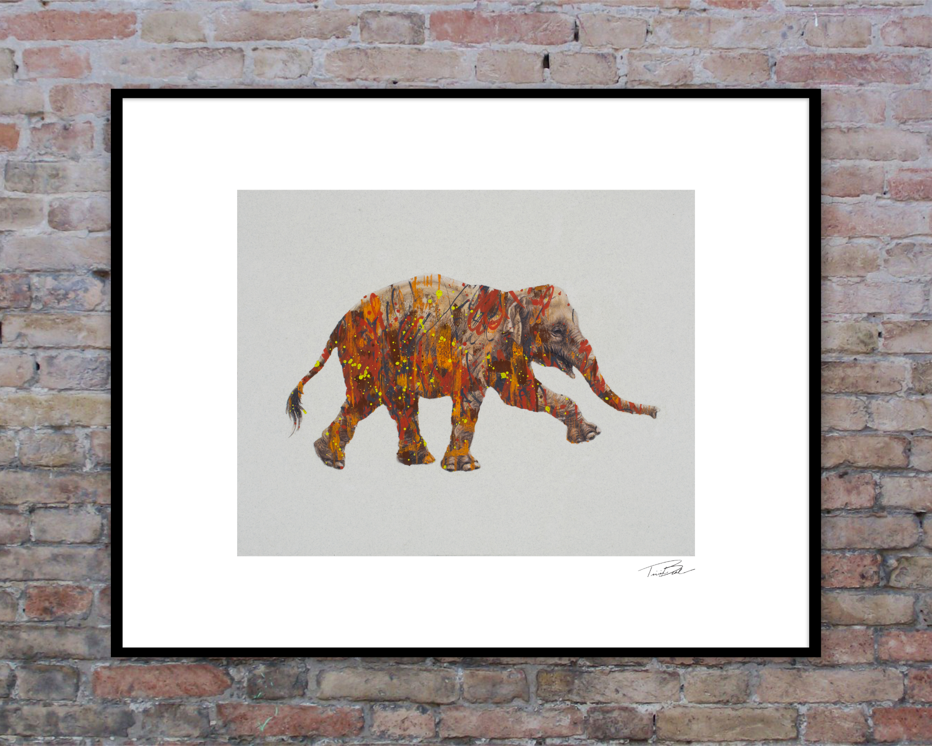 The Forest For The Trees-Asian elephant drawing framed